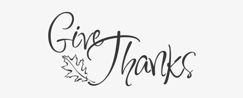 Give Thanks Clipart Black And White PNG Image.