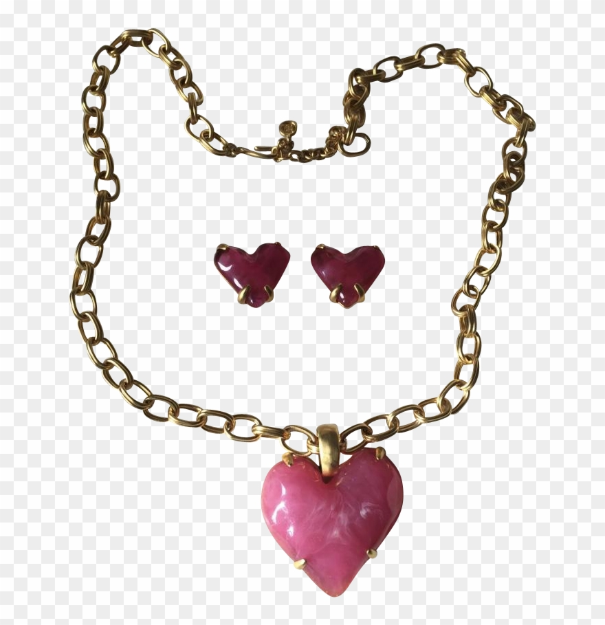 Givenchy Gold Metal Chain & Pink Jelly Lucite Heart.