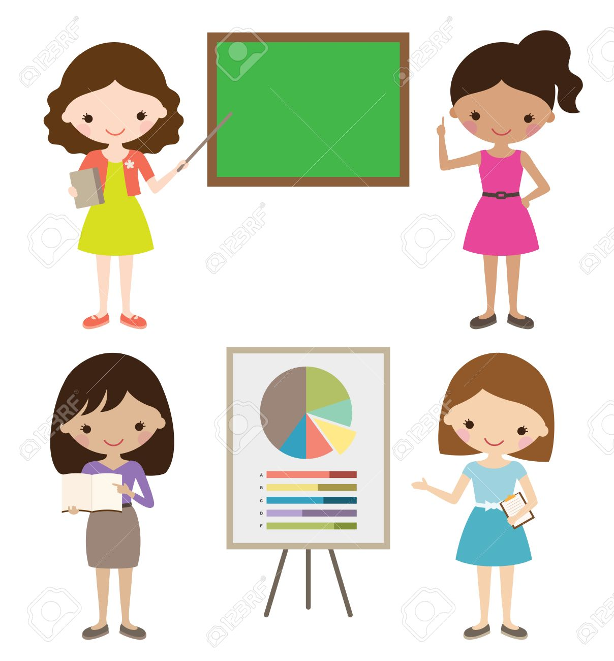 Teacher or businesswoman giving presentation..