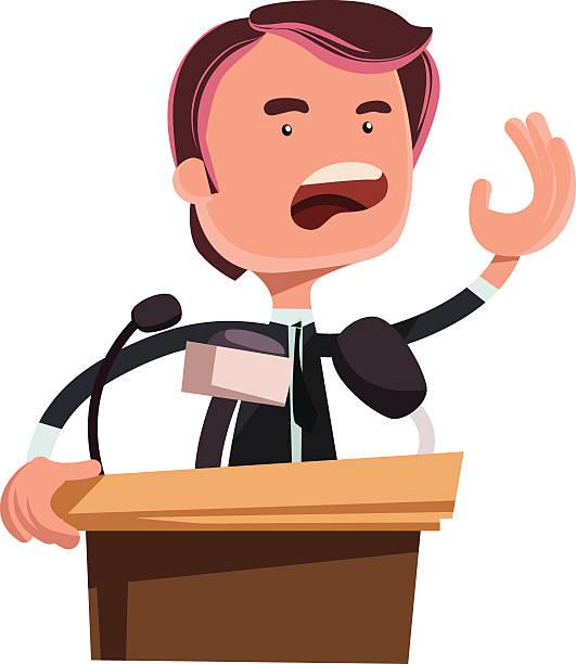 Politician giving speech vector illustration cartoon.