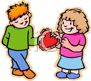 Guy giving candy to girl clipart.