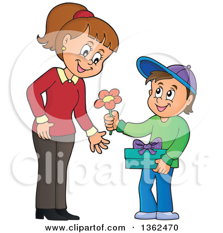 Mom giving boy candy clipart.