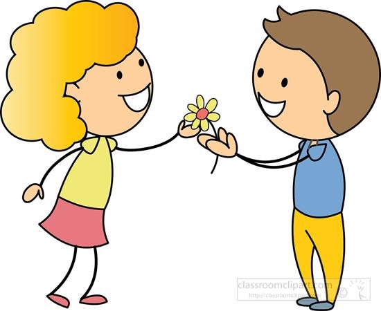 Giving Flowers Clipart Children Clipart Stick Figure Boy.