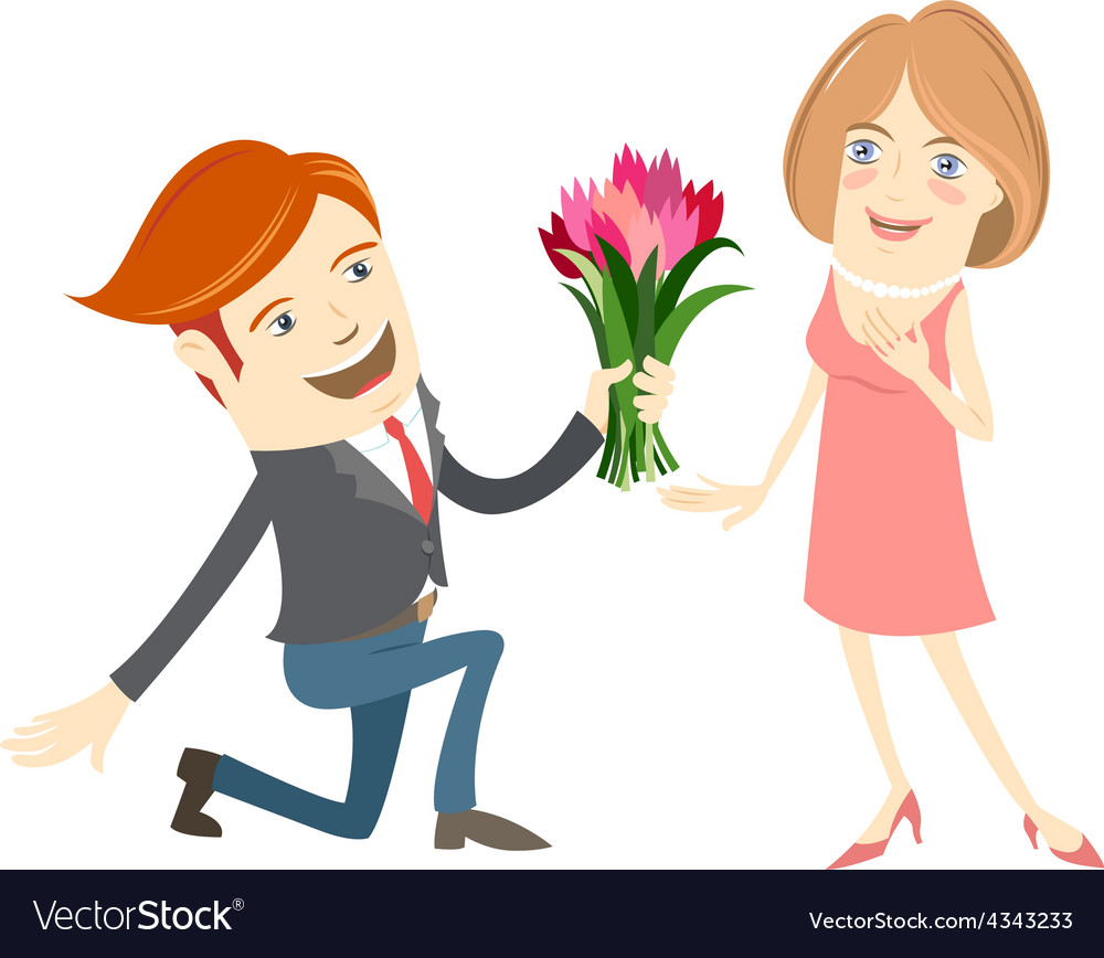 Hipster funny man kneeling giving flowers to the.