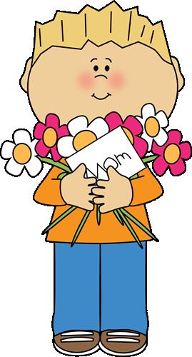 Hispanic boy giving mother flowers clipart.