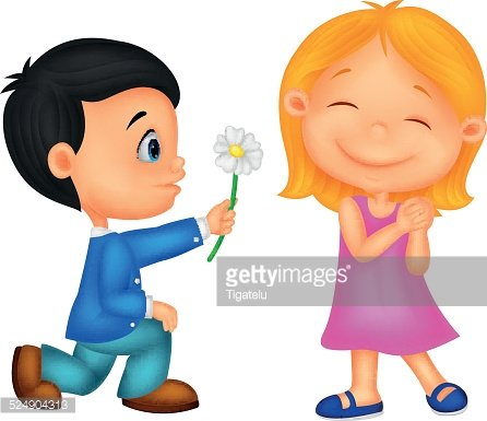 Cartoon Little boy giving flowers to girl Clipart Image.