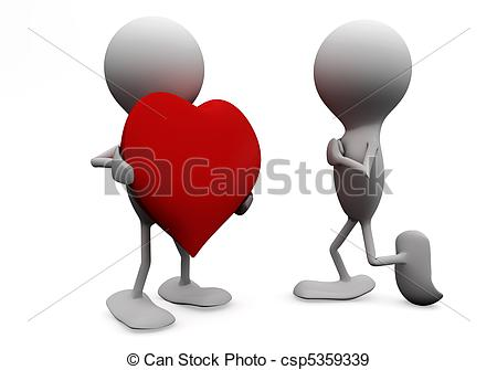Stock Illustration of Man giving his heart to a woman. 3D love.