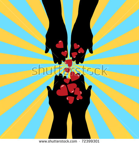 Silhouette Hands Giving Love Symbol Stock Vector 72398803.