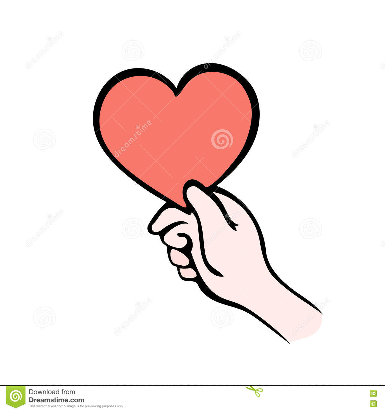 Hand Giving Heart Symbol On White, Give Love Stock Vector.
