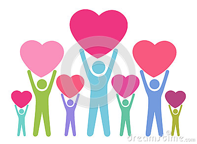 People Giving Their Love Stock Vector.