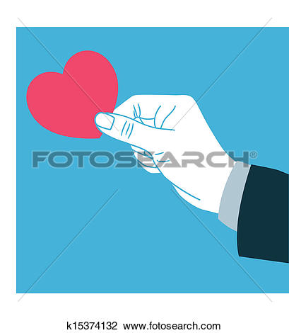 Clipart of Hand giving love k15374132.