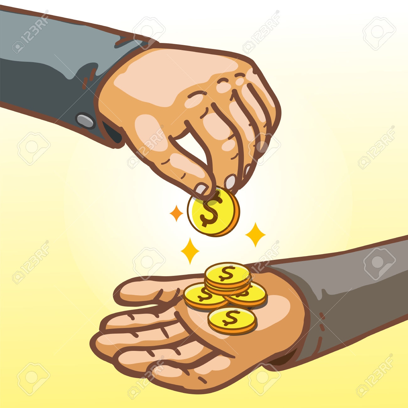Cartoon Hands Giving And Receiving Money Royalty Free Cliparts.