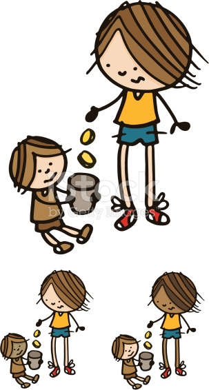 Man Giving Money To A Begging Child stock vector art 165813474.