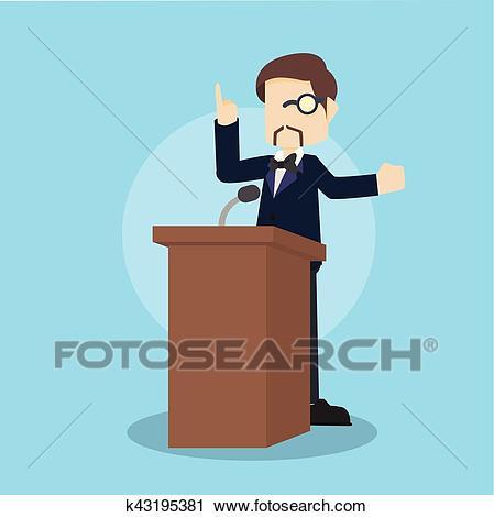 Business man giving speech on podium Clipart.
