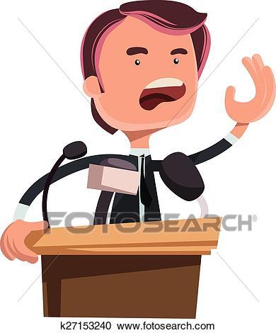 Politician giving speech Clipart.
