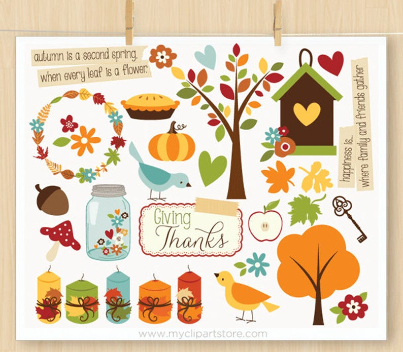 Giving Thanks, Thanksgiving Clipart, Farmhouse, mason jar, flowers,  birdhouse, candles, Fall, Commercial Use, Vector clip art, SVG Files.