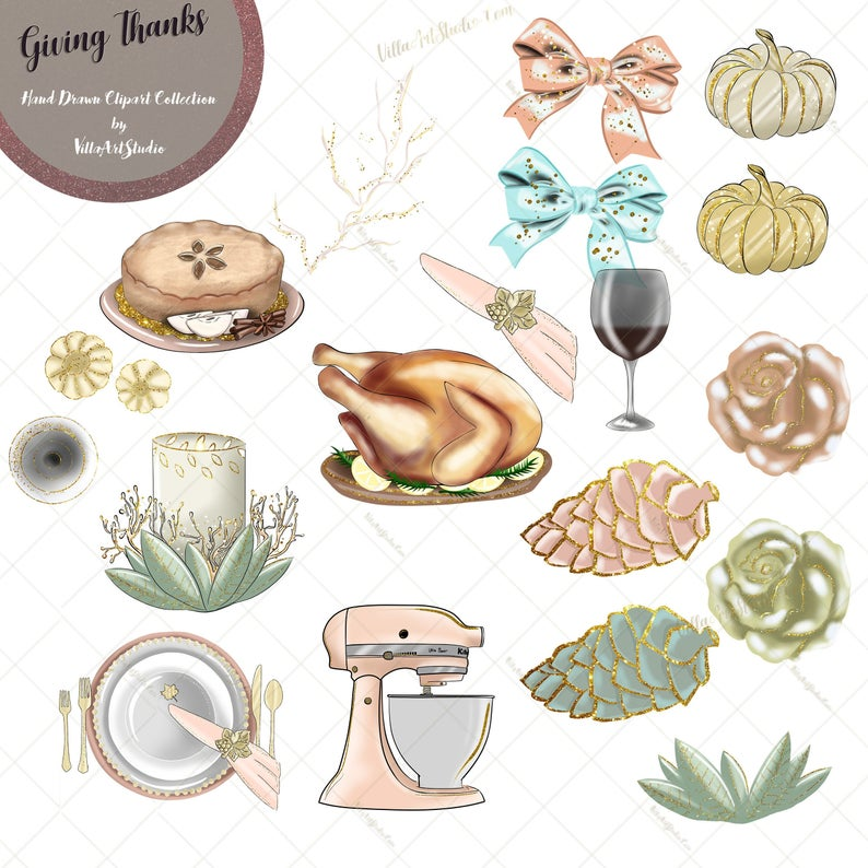 Giving Thanks Clipart, Thanksgiving Clipart, Thanksgiving Dinner, AUTUMN  clipart, planner stickers, planner goodies, FALL clipart, pumpkins.