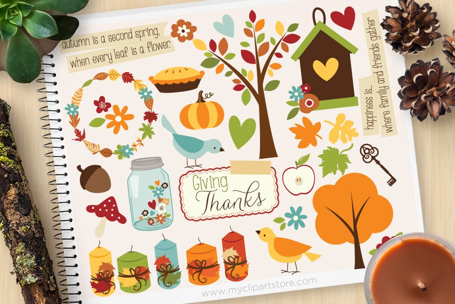 Giving Thanks, Autumn, Fall Clipart.