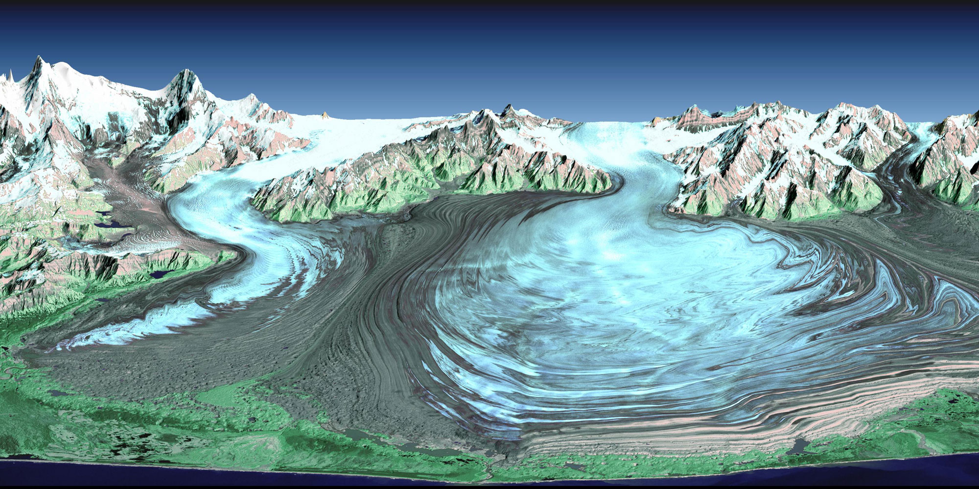 Satellite Image of Malaspina Glacier In Southeastern Alaska Photo.