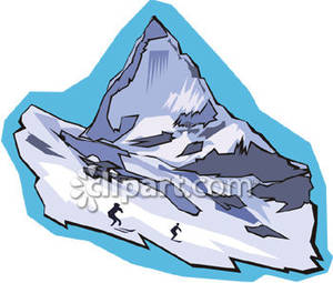 Mountain Peak with Skiers.