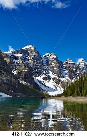 Picture of Snowy mountains overlooking glacial lake 412.