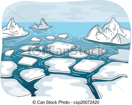 Vector Illustration of Melting Glaciers.