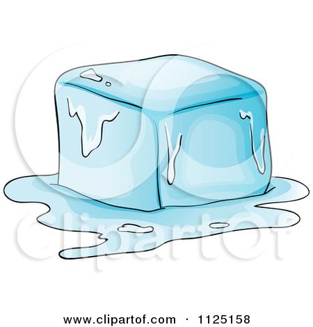 Cartoon Of A Melting Ice Cube.