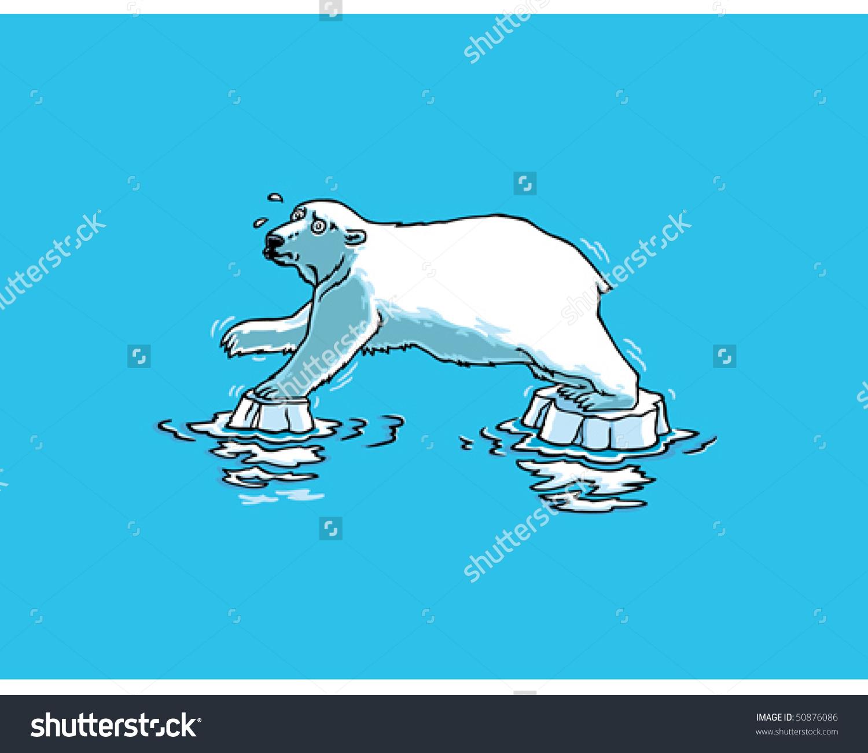 Polar Bear On Melting Ice Clip Art.