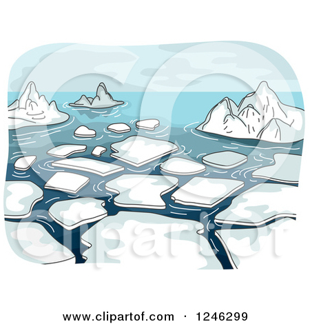 Clipart of a Landscape of Melting Ice in the Sea.