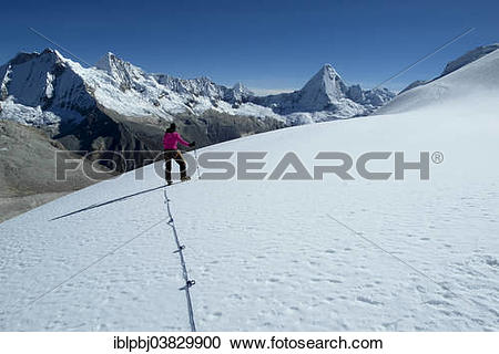 """Stock Photography of """"Mountaineer during the ascent of Mt Nevado."""