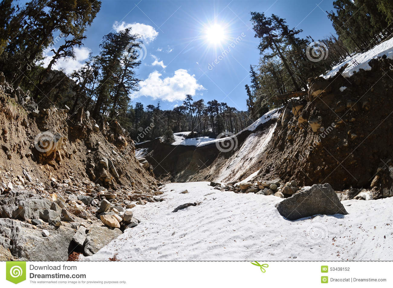 Mountain River Bed In Steep Canyon Stock Photo.