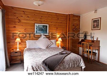 Picture of Nice warm bedroom interior of mountain lodge Fox.