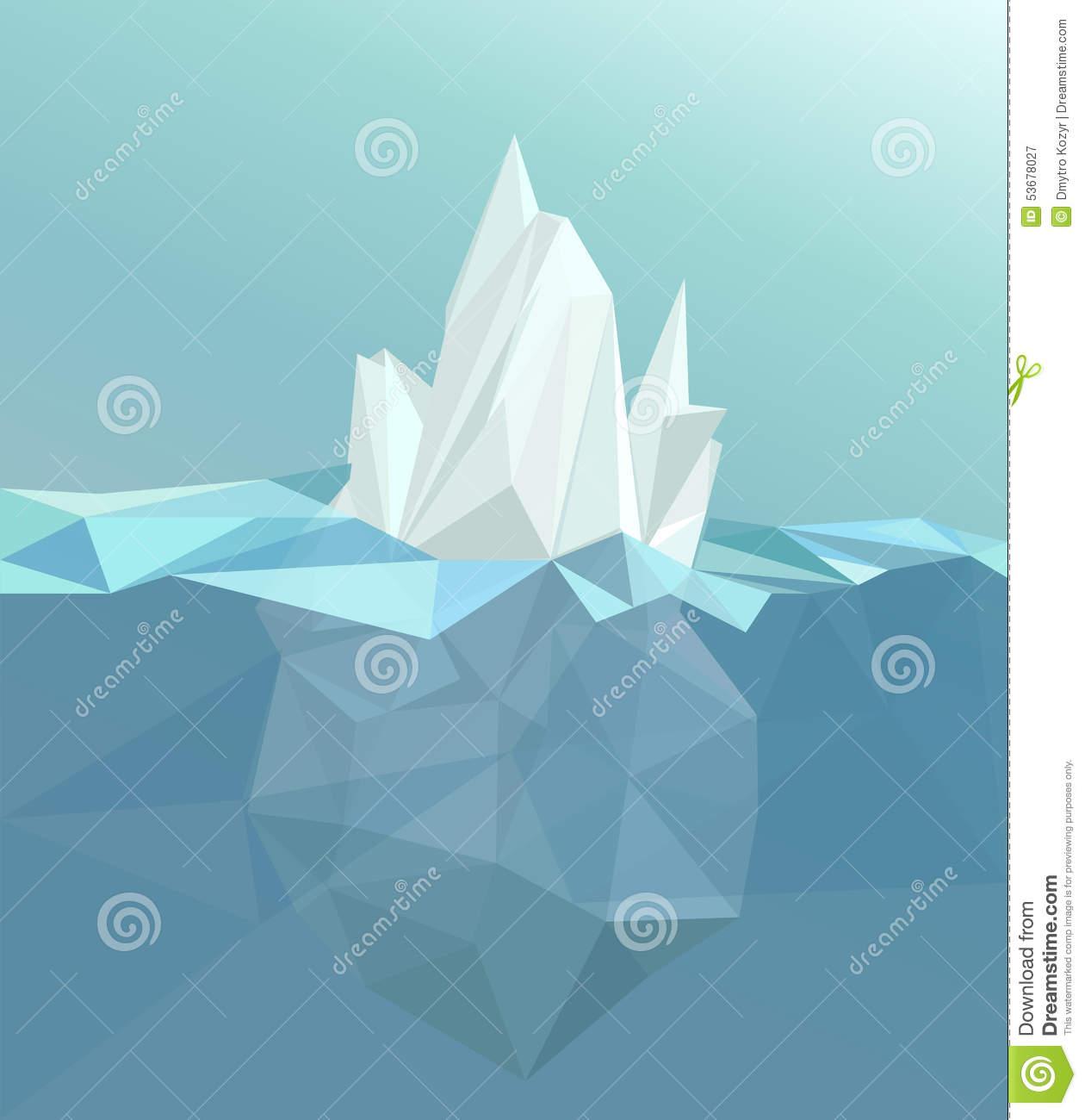 Polygonal Iceberg, Glacier Landscape Stock Vector.