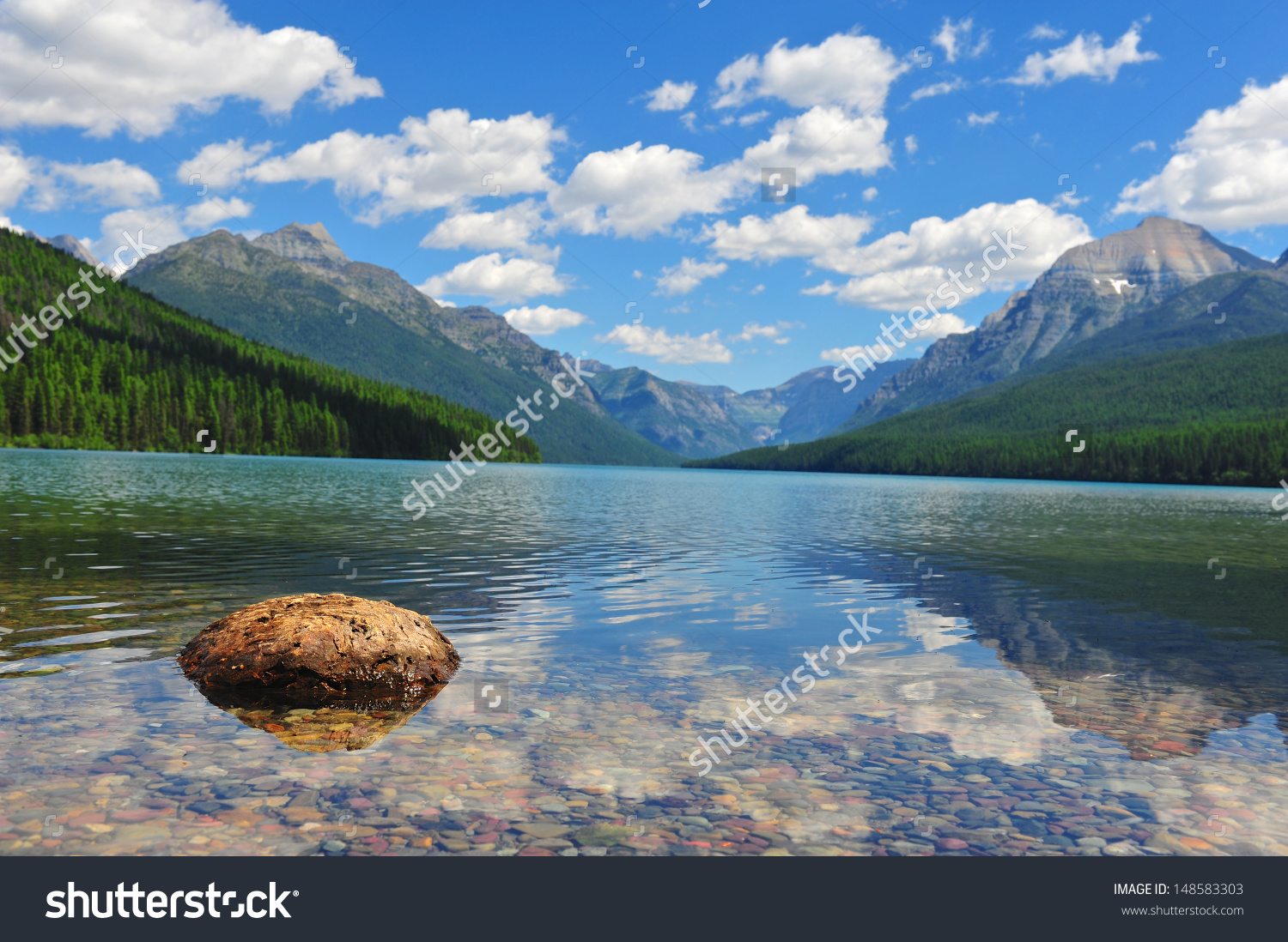 Bowman Lake Glacier National Park Montana Stock Photo 148583303.