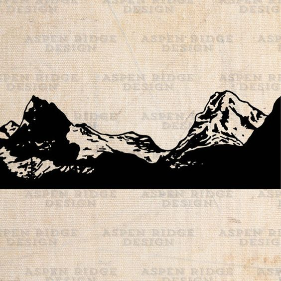 Glacier National Park Mountain Range Wilderness Graphic Clip Art.