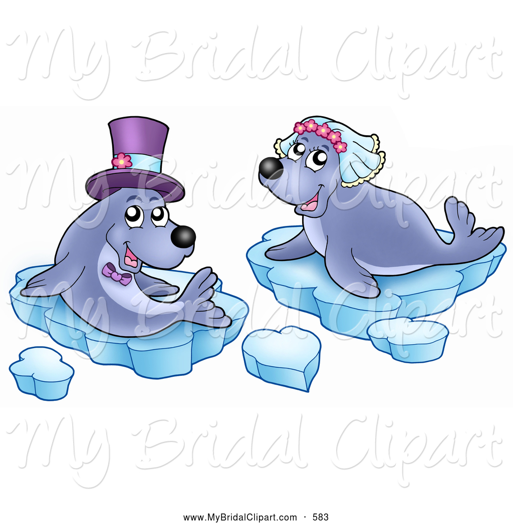 Bridal Clipart of a Seal Wedding Couple Sitting on Ice Glaciers by.