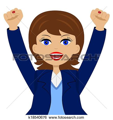 Clipart of a young business woman is glad k18542725.