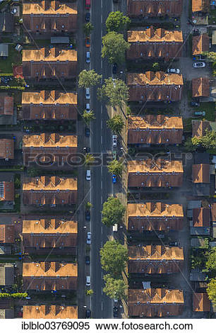 """Stock Image of """"Aerial view, miners settlement, terraced houses."""