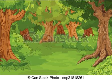 Clip Art Vector of Forest Glade.