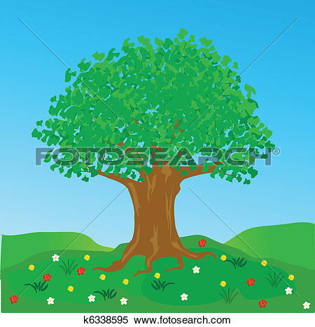 Clipart of Big tree on glade with flower k6338595.