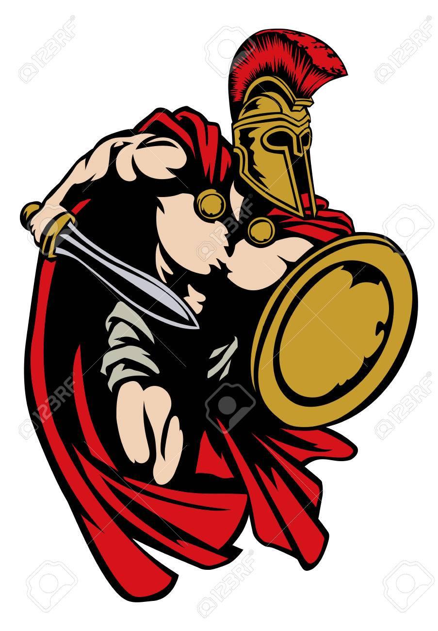 Spartan, Roman or Trojan gladiator ancient Greek warrior with...