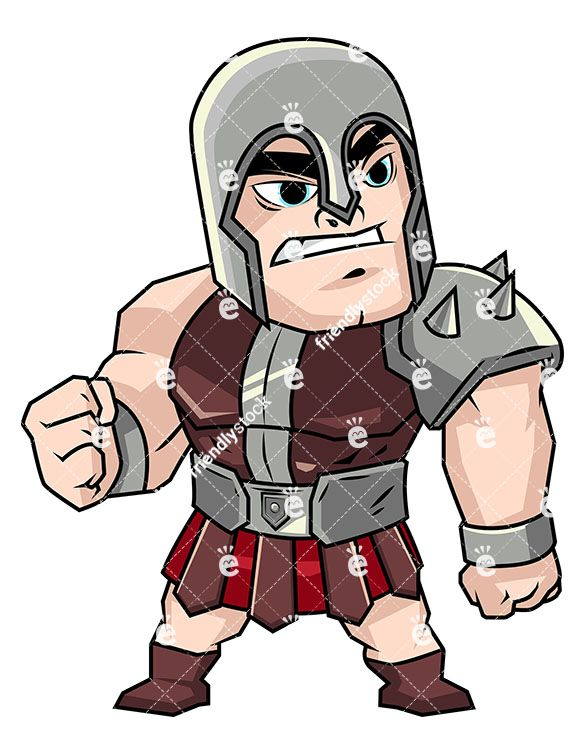 Angry Gladiator In Heavy Armor.