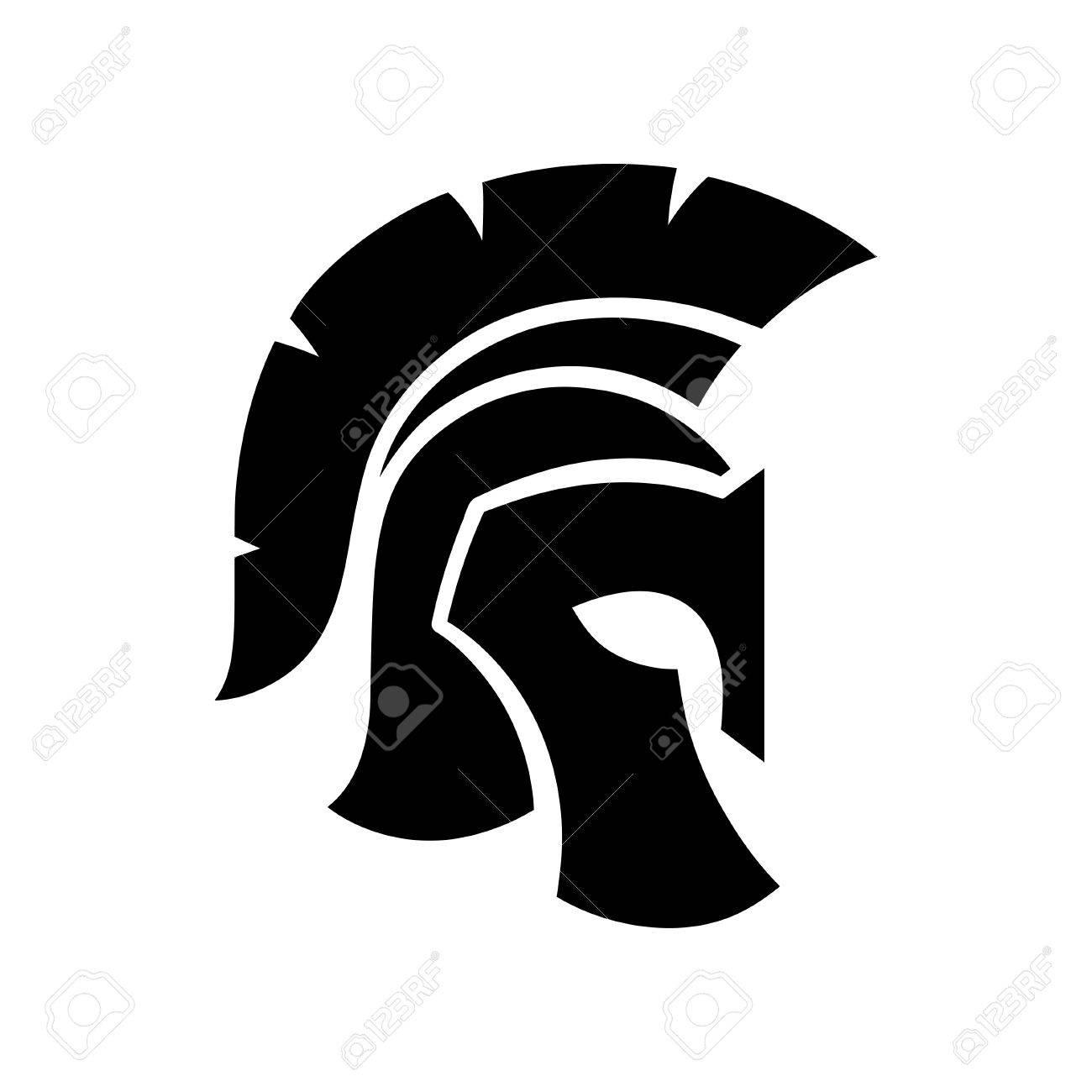 Gladiator helmet silhouette icon.