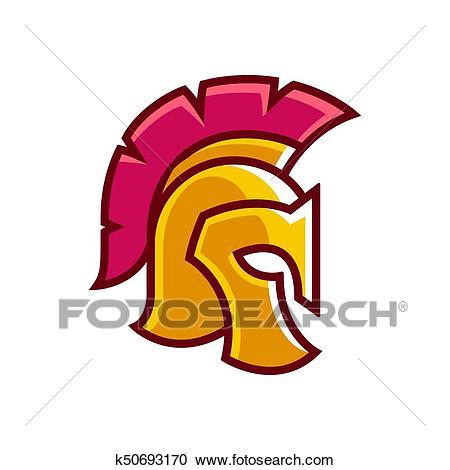 Golden gladiator helmet logo Clipart.