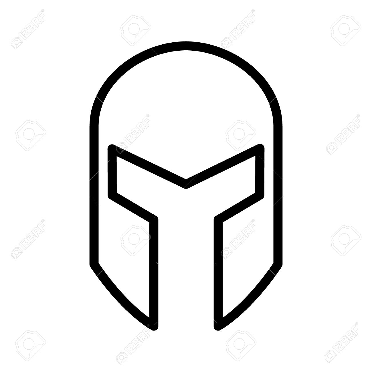 Medieval Gladiatorial Helmet Headgear Line Art Icon For Games.