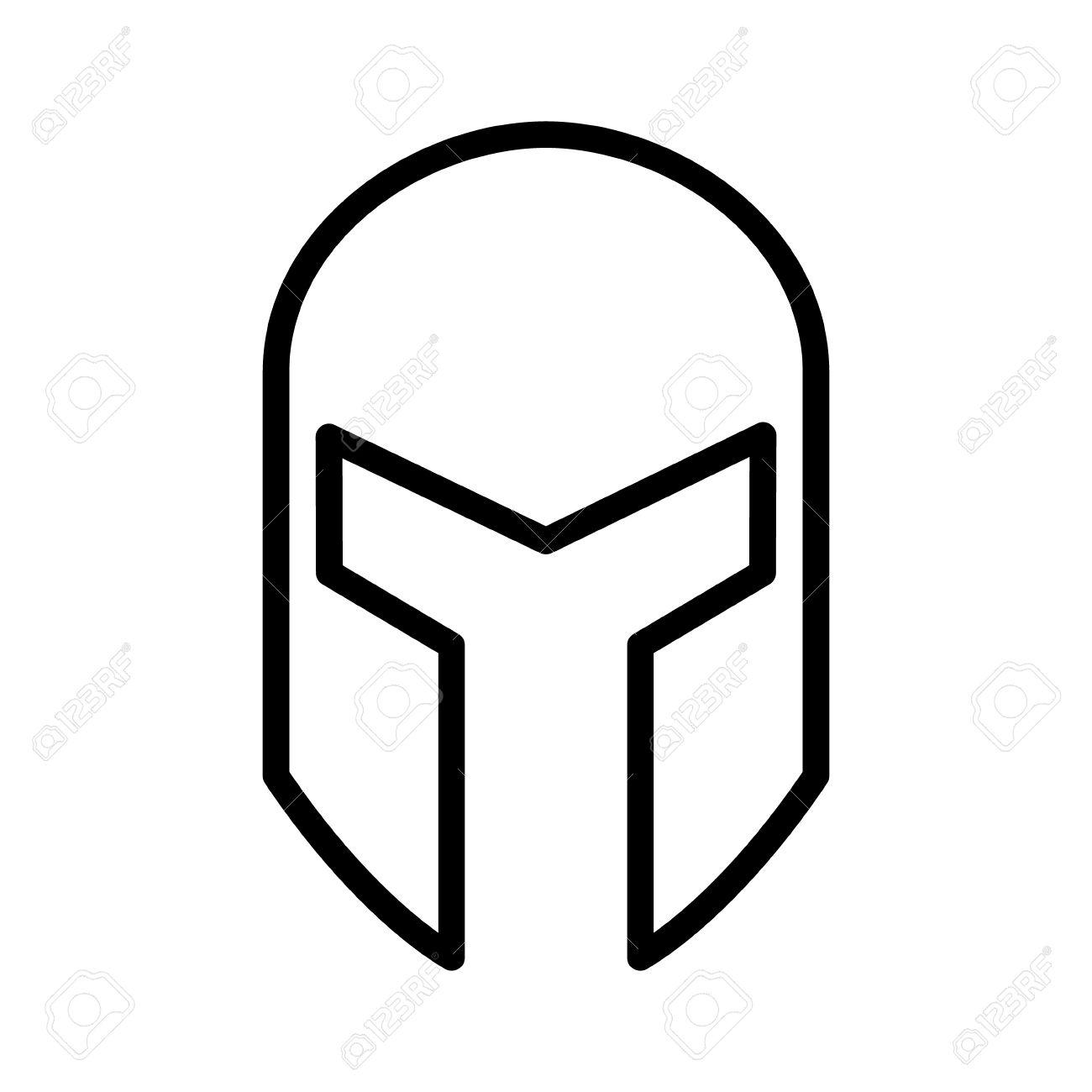 Medieval Gladiatorial Helmet Headgear Line Art Icon For Games.