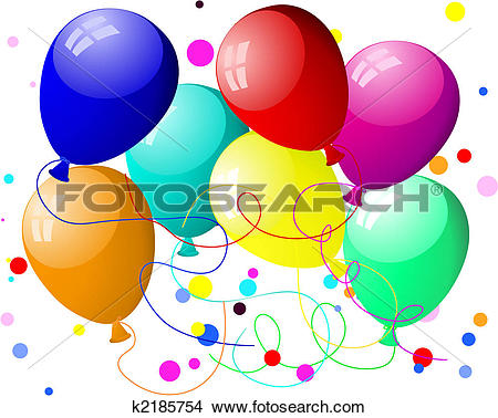 Clipart of colourful balloons with glare k2185754.