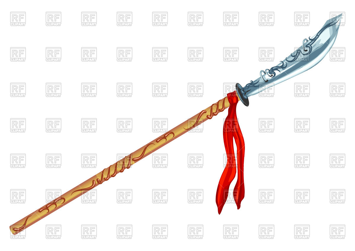 Decorative glaive with red ribbon Vector Image #77270.