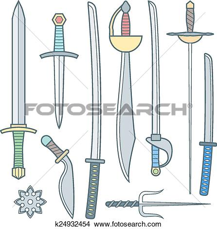 Clipart of vector colored outline cold medieval weapons set with.