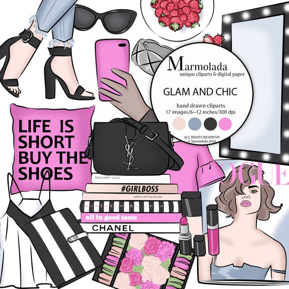 Fashion clipart Glam clipart Fashion Girl Planner clipart Hands with phone  Shoes Handbag Books Ring Pink Black Strawberry Blouse Macaroon.